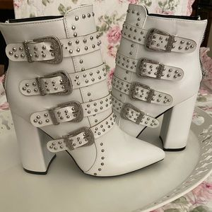 NWOT- White Buckle Boot